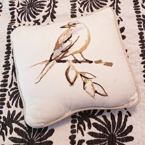 Pottery Barn Square Embroidered Bird Pillow